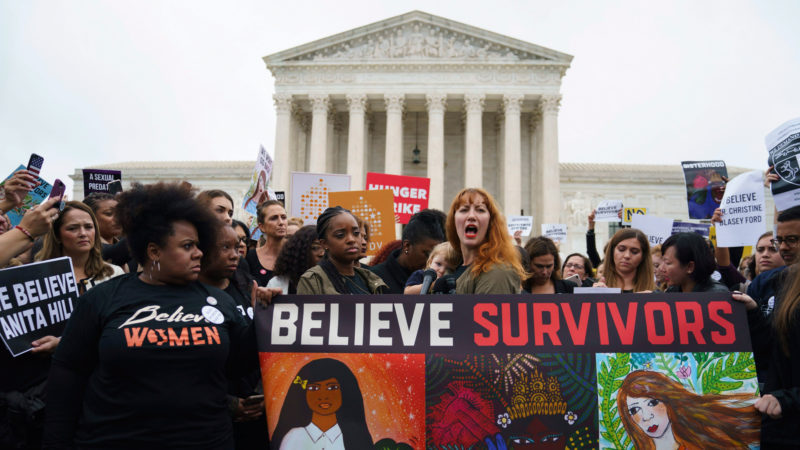 Protesters with Women's March and others gather in front of the Supreme Court on Capitol Hill in Washington, Monday, Sept. 24, 2018. A second allegation of sexual misconduct has emerged against Judge Brett Kavanaugh, a development that has further imperiled his nomination to the Supreme Court, forced the White House and Senate Republicans onto the defensive and fueled calls from Democrats to postpone further action on his confirmation. President Donald Trump is so far standing by his nominee.